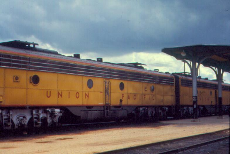 UP diesels on Amtrak Sunset. August 1971